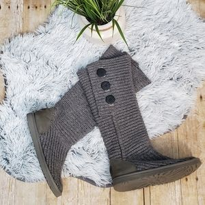 Gray UGG Classic Cardy Button Detailed Knit Boots
